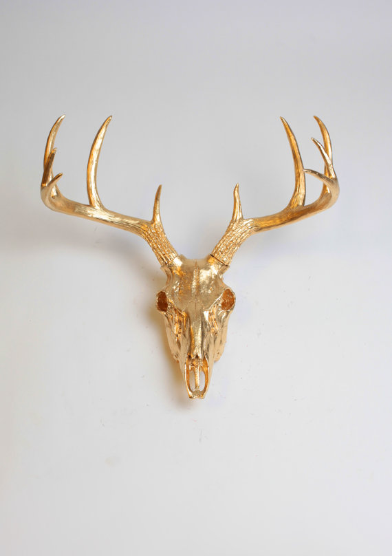 Gold animal skull wall decor by white faux taxidermy faux deer head skull antlers stag skull wall hanging southwestern room decor