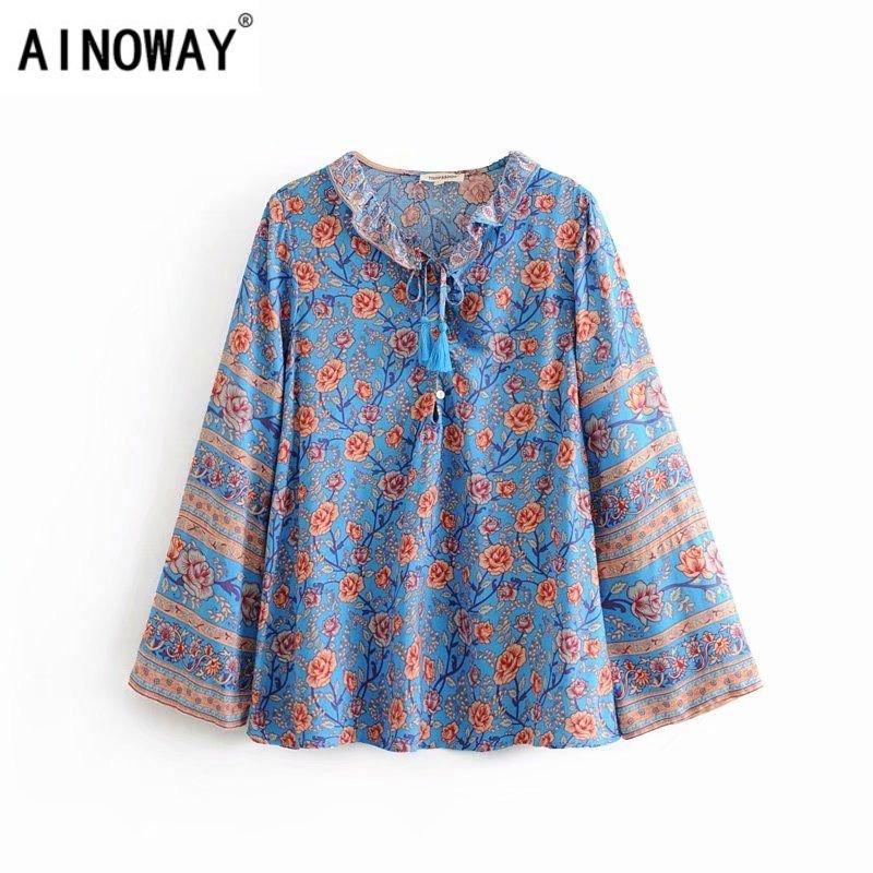 summer vintage blue floral women blouse and tops v neckline with tassel tops long sleeve boho blouse