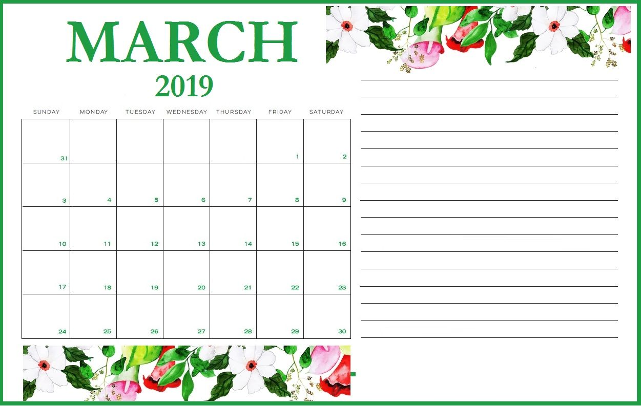 Floral March 2020 Wall Calendar Calendar Design March Calendar