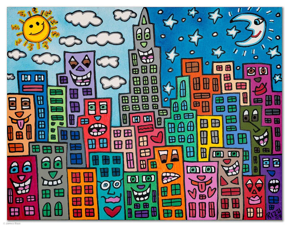 James Rizzi Cityscapes | Art lessons elementary, Collaborative art ...