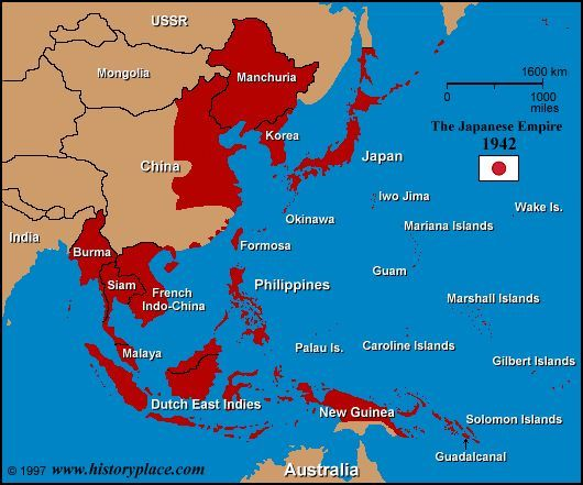 Map Of Japan 1600.Map Of The Japanese Empire At Its Height In 1942 Wwii