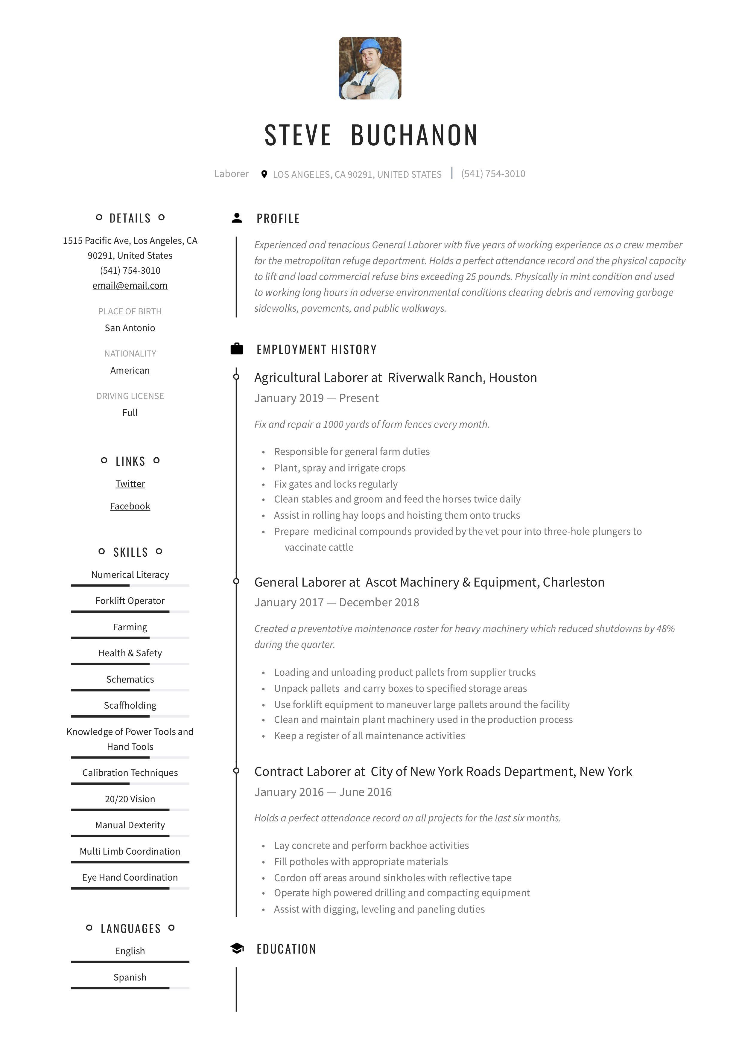 General Laborer Resume & Writing Guide in 2020 Resume
