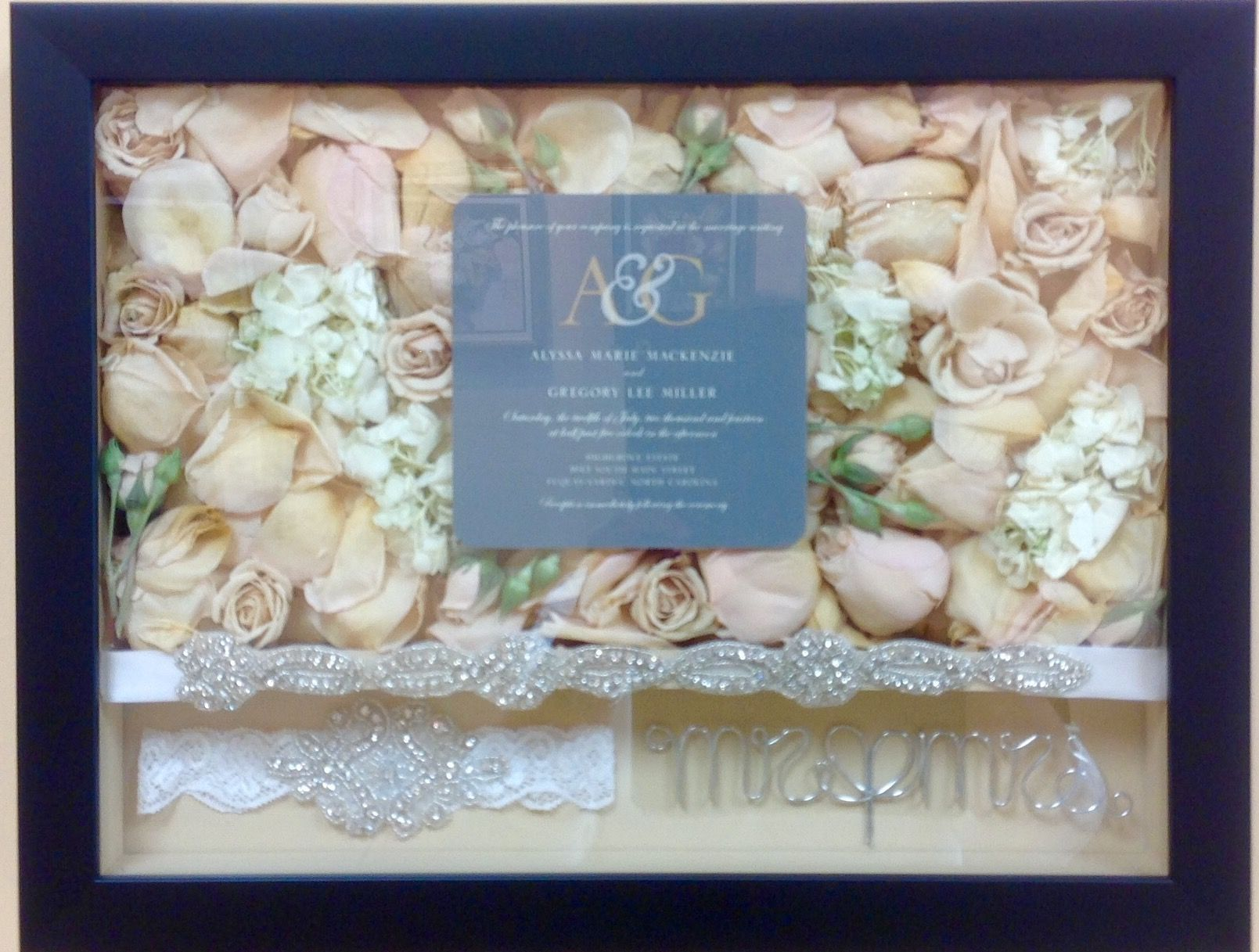 Simple black shadow box with a deconstructed bouquet, invitation ...