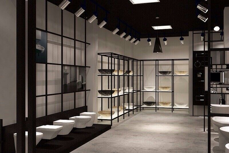 Black ceiling and white display | Showroom interior design ...
