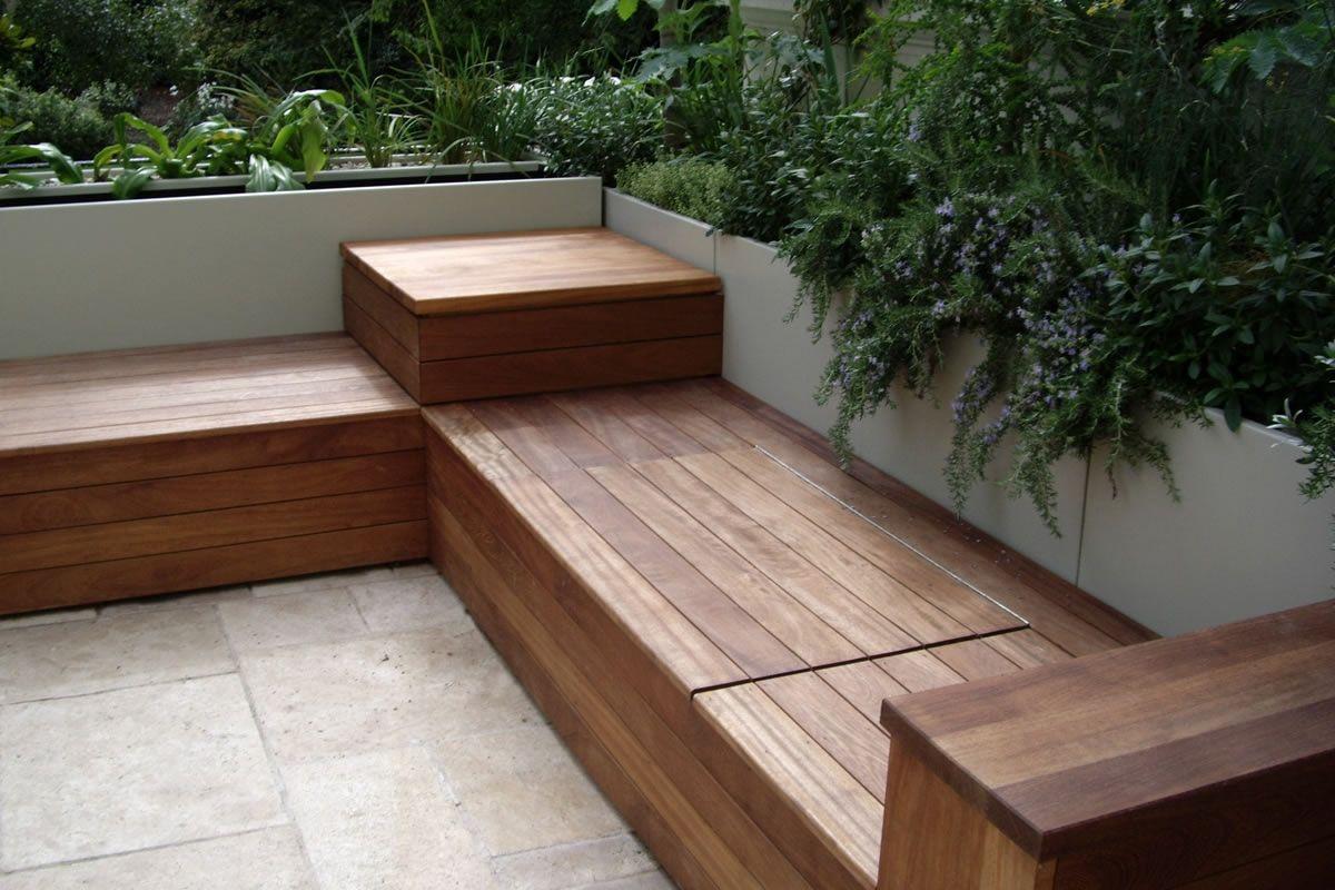 wooden bench outdoor deck storage bench