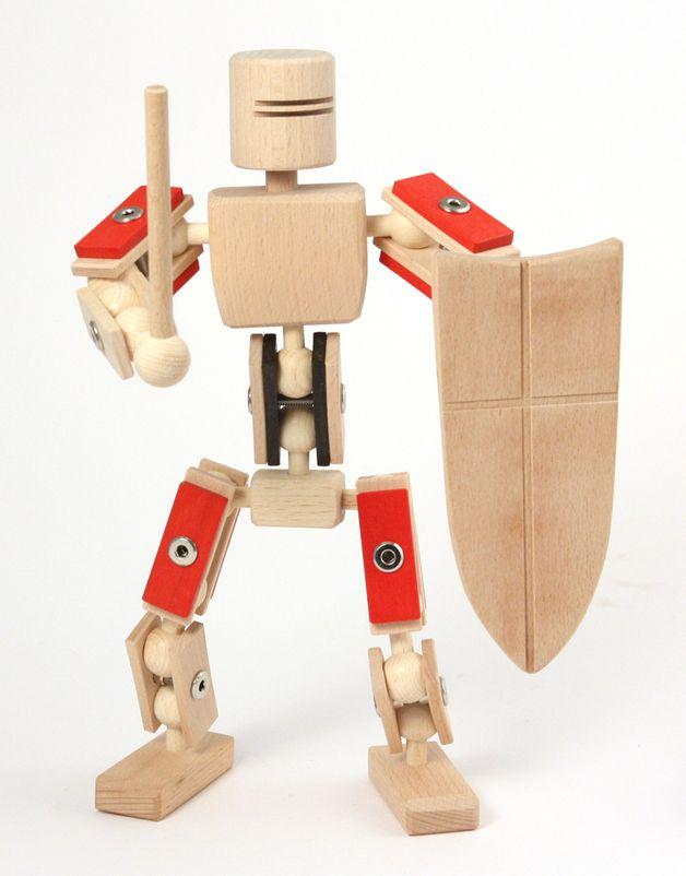 96309f6a3833c6 Roter Ritter von Helden aus Holz Bewegliche Spielfiguren aus Buchenholz zum  selbst Zusammenbauen. Ein kreatives Holzspielzeug