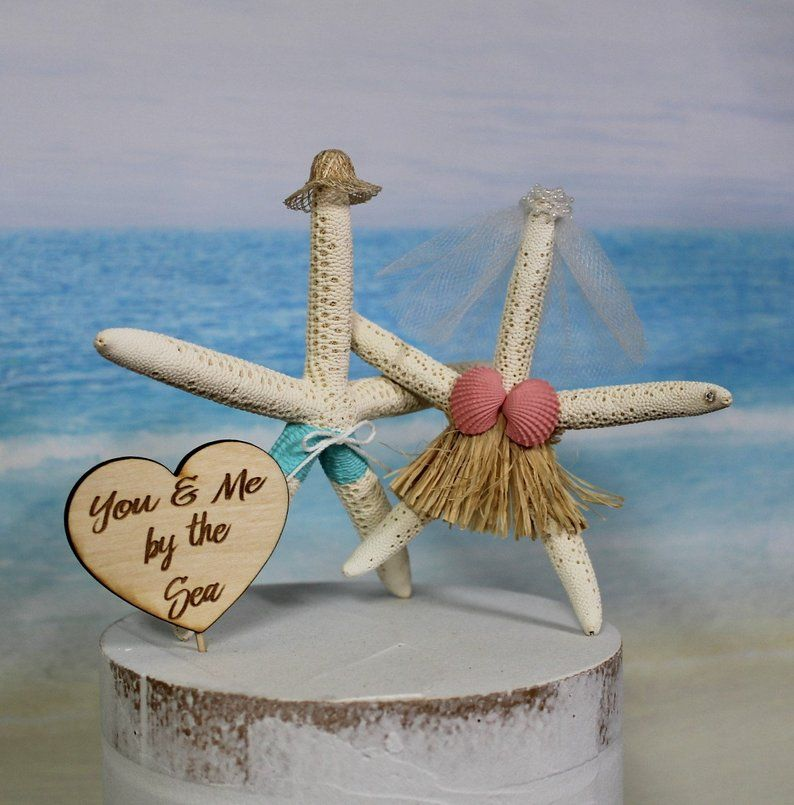 Beach wedding cake topper starfish sea ocean
