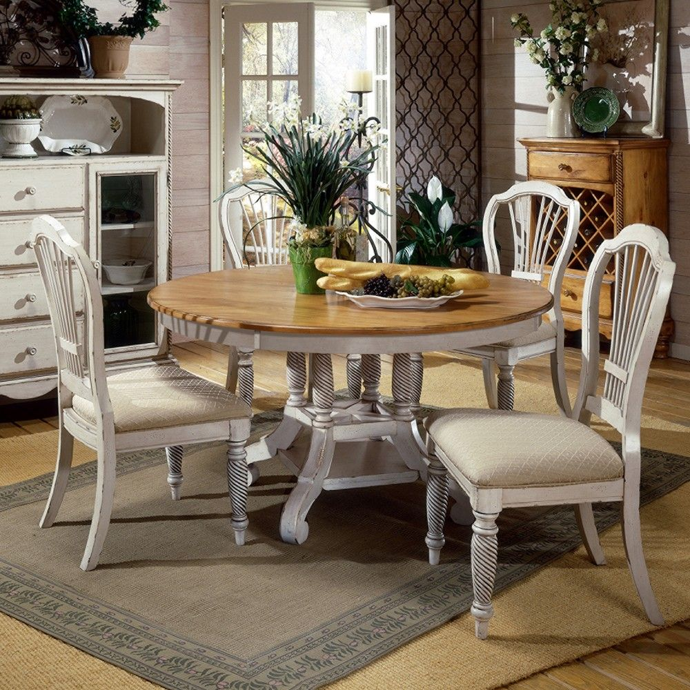wilshire wood round oval dining table chairs in pine antique white my style pinterest. Black Bedroom Furniture Sets. Home Design Ideas