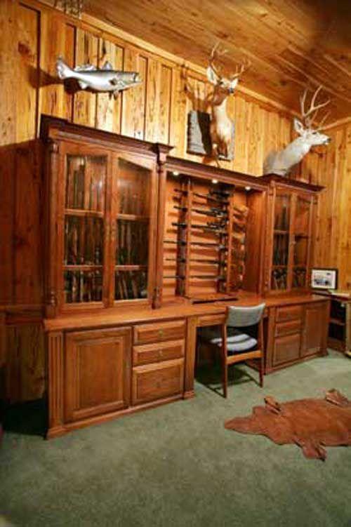 Attrayant Large Gun Cabinet Desk Perfect Den Accessory.