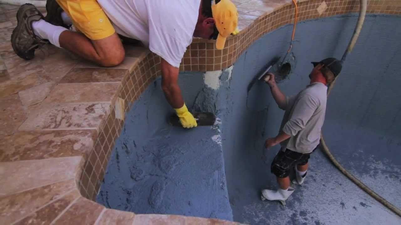 How To Do Pool Resurfacing Part Two Travertine Pool Deck Pavers Ref Pool Refinishing Pool Plaster Travertine Pool Decking