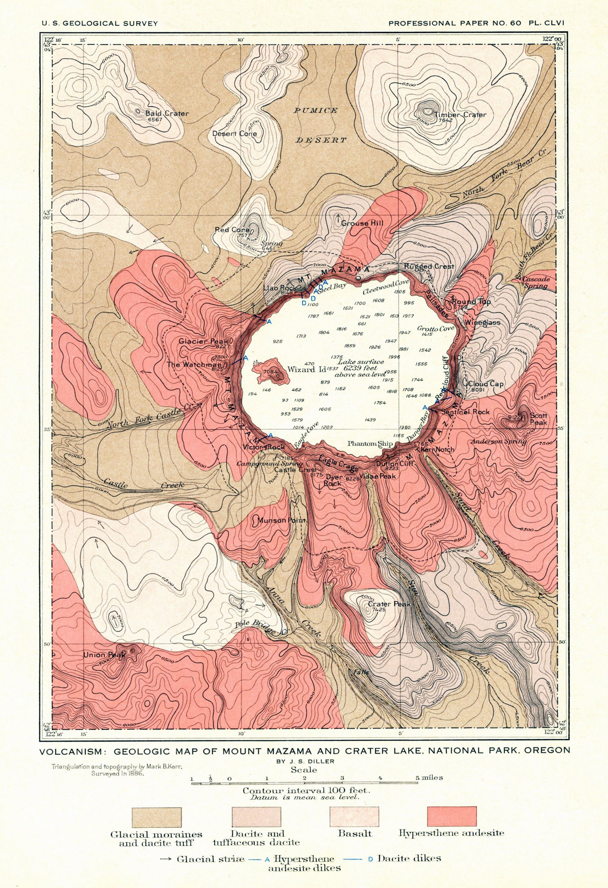 Geological Map Of The Crater Lake Area 1886 Not Detailed Enough To Show The