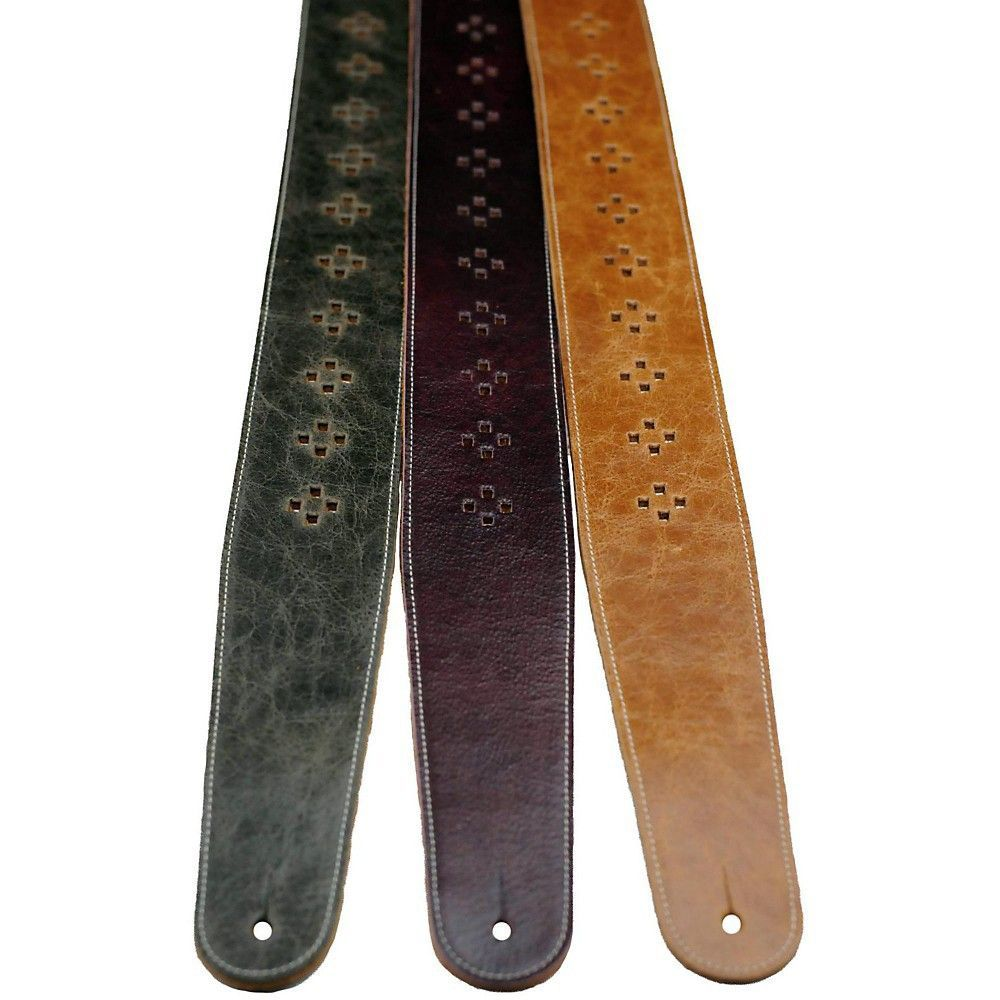 Perris 25 distressed leather guitar strap with