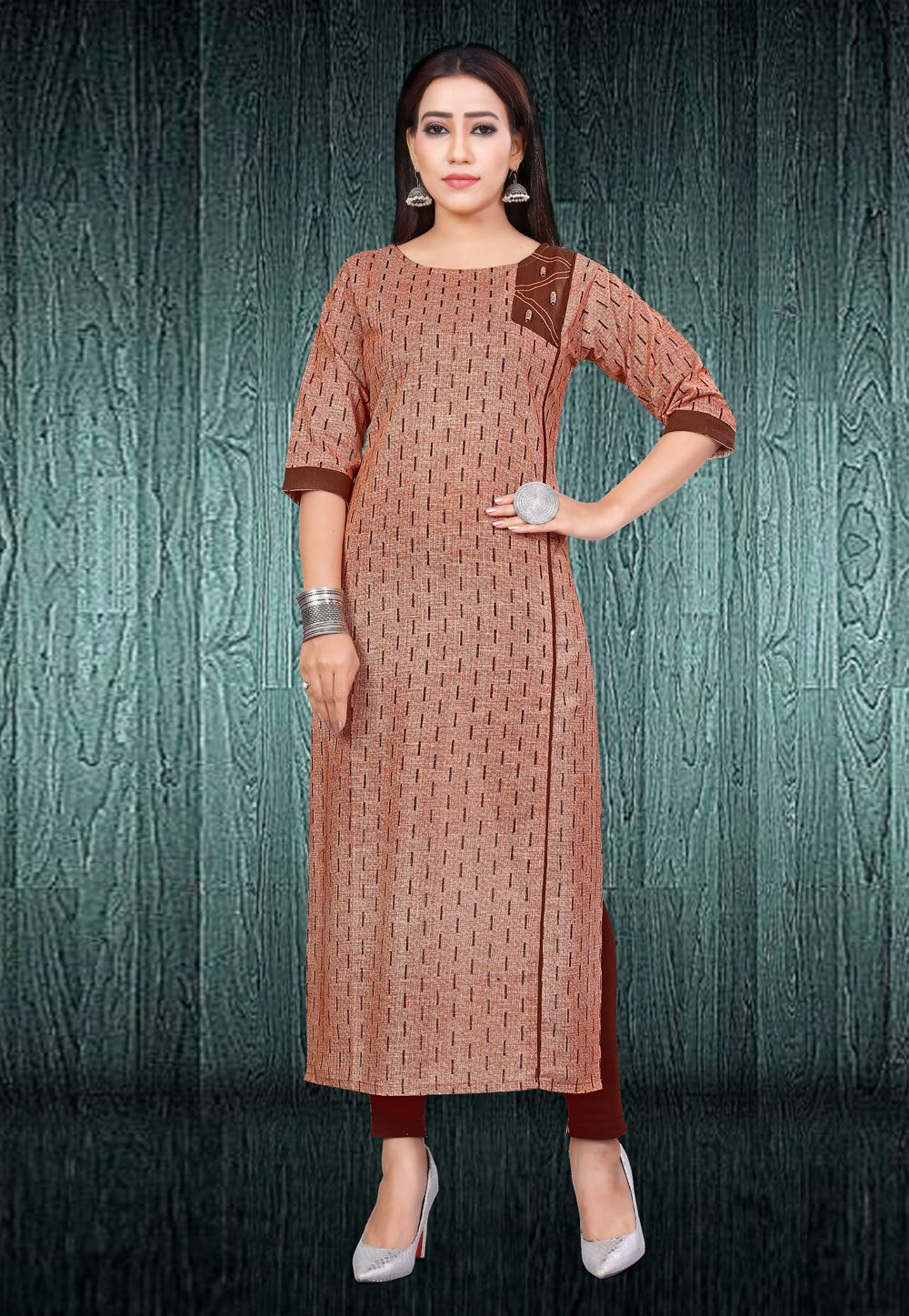 14fce28a6b Shop Brown Cotton Readymade Kurti 168496 online at best price from vast  collection of designer kurti