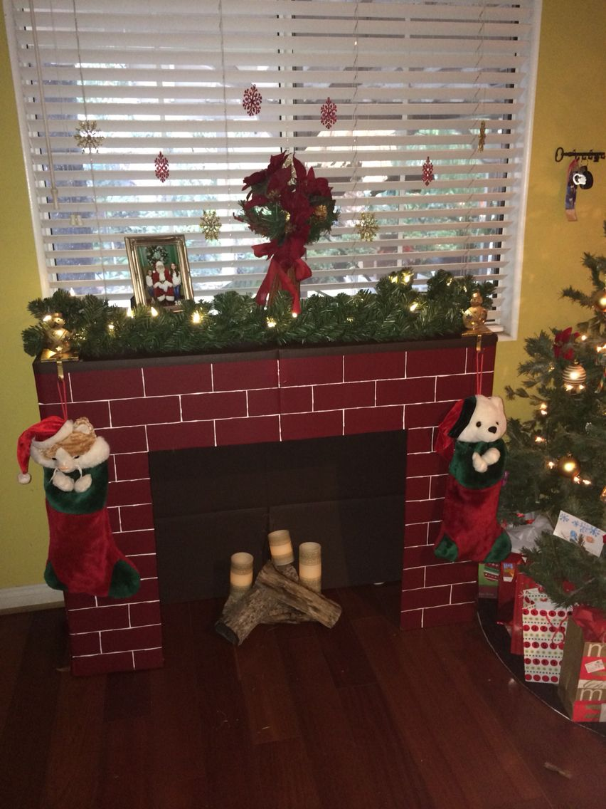 fake fireplace made out of cardboard christmas pinterest