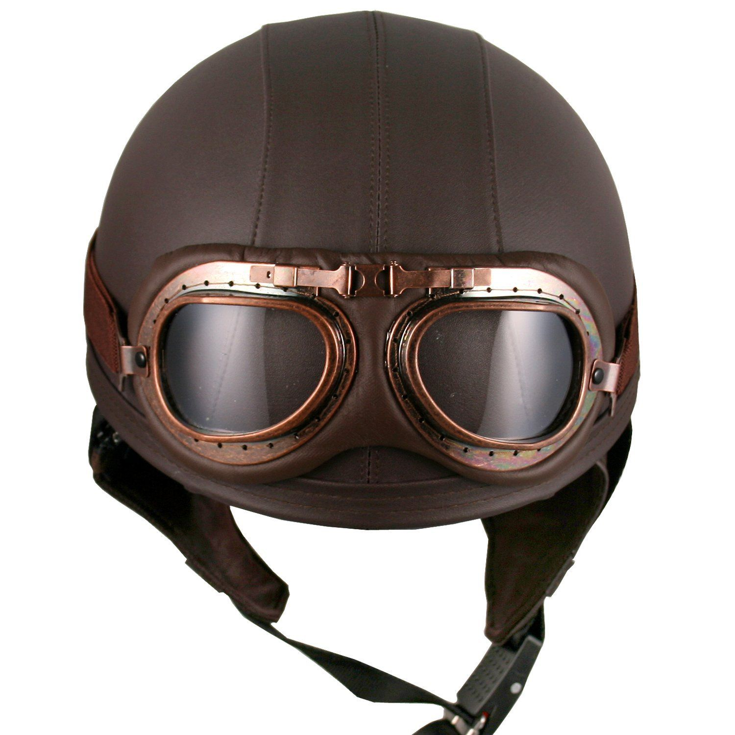 Amazon.com: Leather Brown Motorcycle Goggles Vintage ...