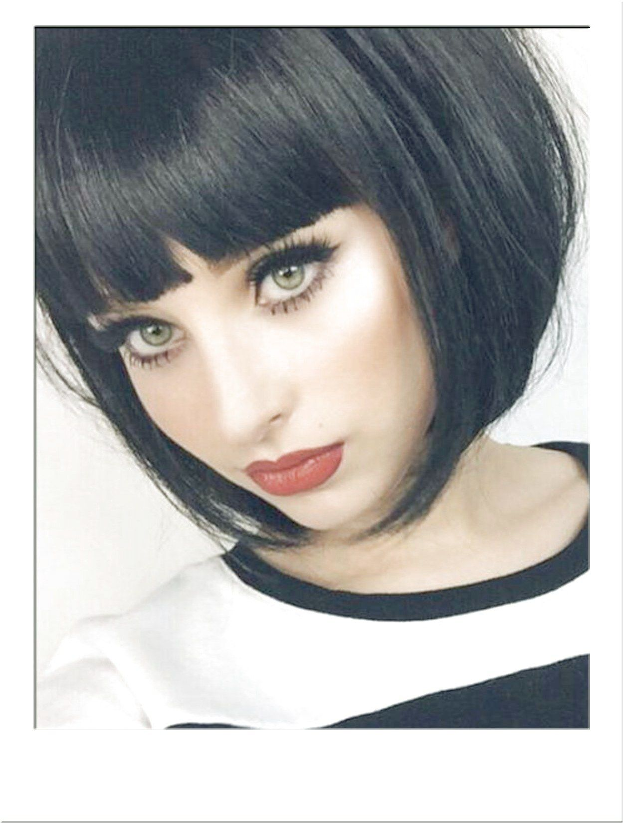 Black Blunt Bob Fashion Wig Short And Sharp Super Flattering Black Bob With Dynamic Blunt Hairstyles With Bangs Bob Hairstyles For Thick Curly Bob Hairstyles