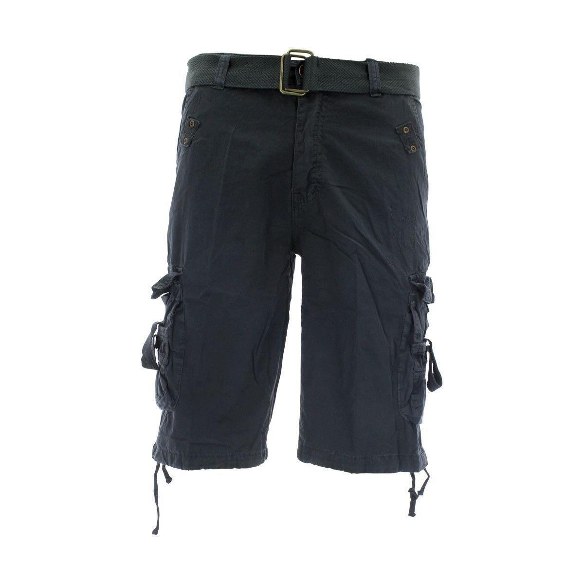 Swiss Cross - Men's Belted Cargo Shorts - Charcoal