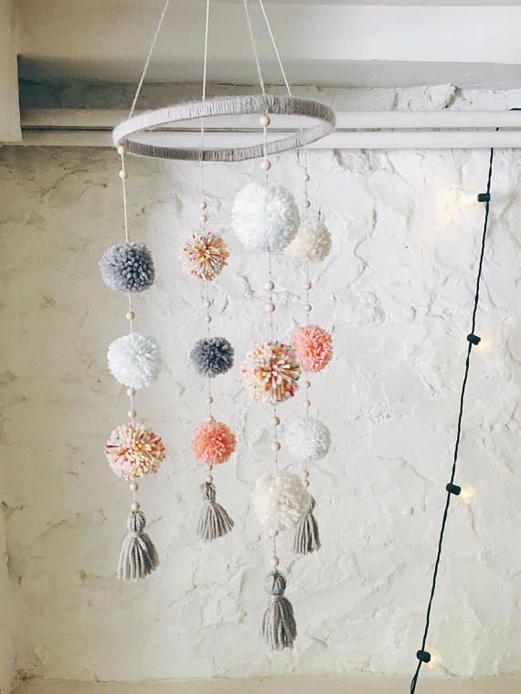 Pom Pom Mobile- Nursery Mobile- Baby Mobile- Crib Mobile- Nursery Decor - Baby Shower Gift - Boho- Baby Girl Gift- Baby Boy Gift #babyyarn