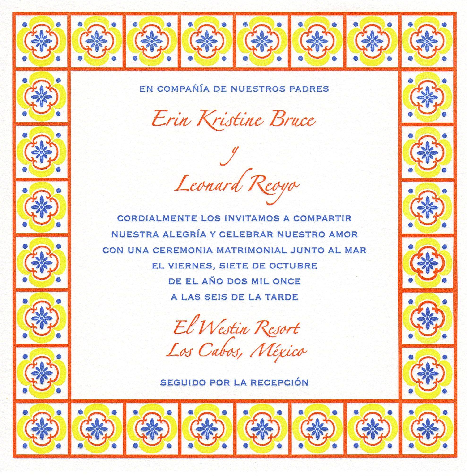 """Talavera Tile"" custom letterpress wedding invitation in"