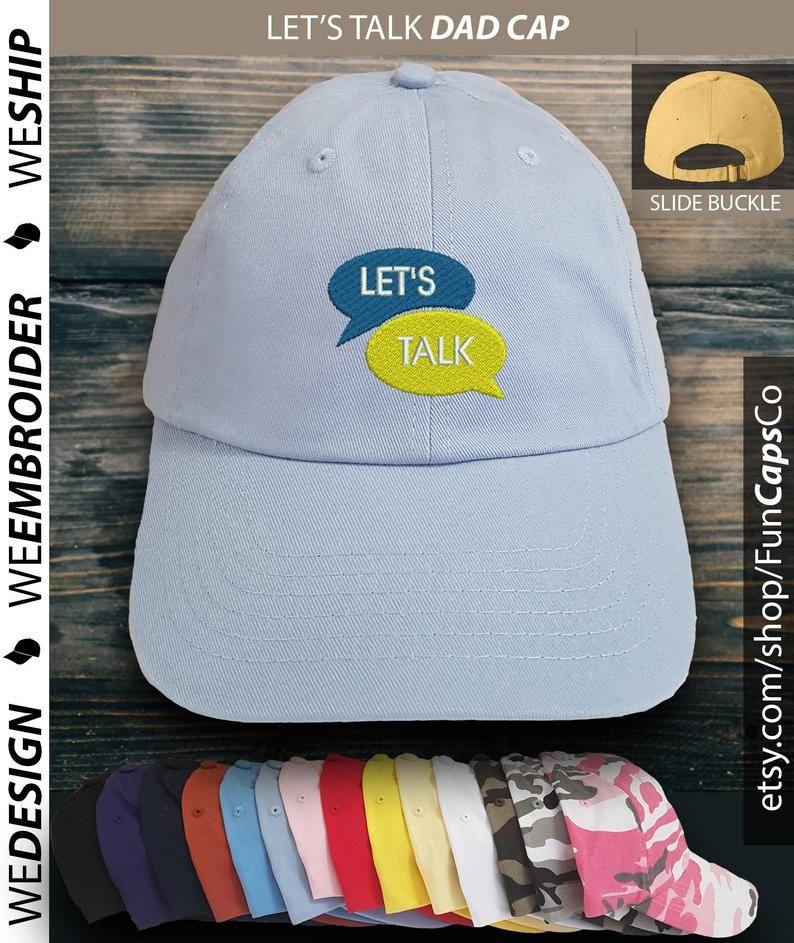 Let's Talk hat, Smile cap, Embroidered Hat, mental health hat
