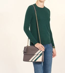 414b6d3a67a Tory Burch Fleming Stripe Convertible Shoulder Bag