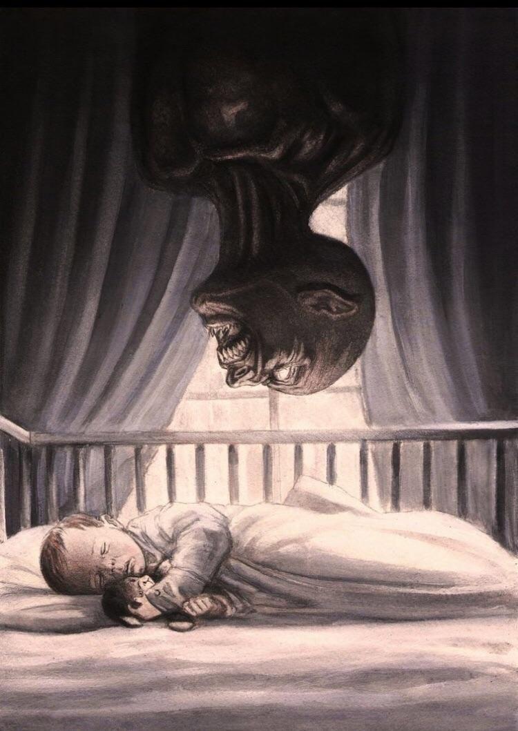 sweet dreams  | REDDIT | Horror art, Scary paintings, Horror
