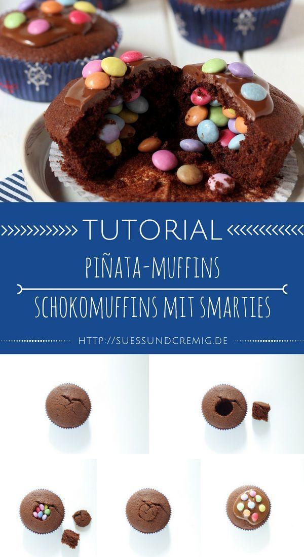 Photo of Pinata Muffins Anleitung | Schokoladenmuffins mit Smarties Tutorial | süß und …