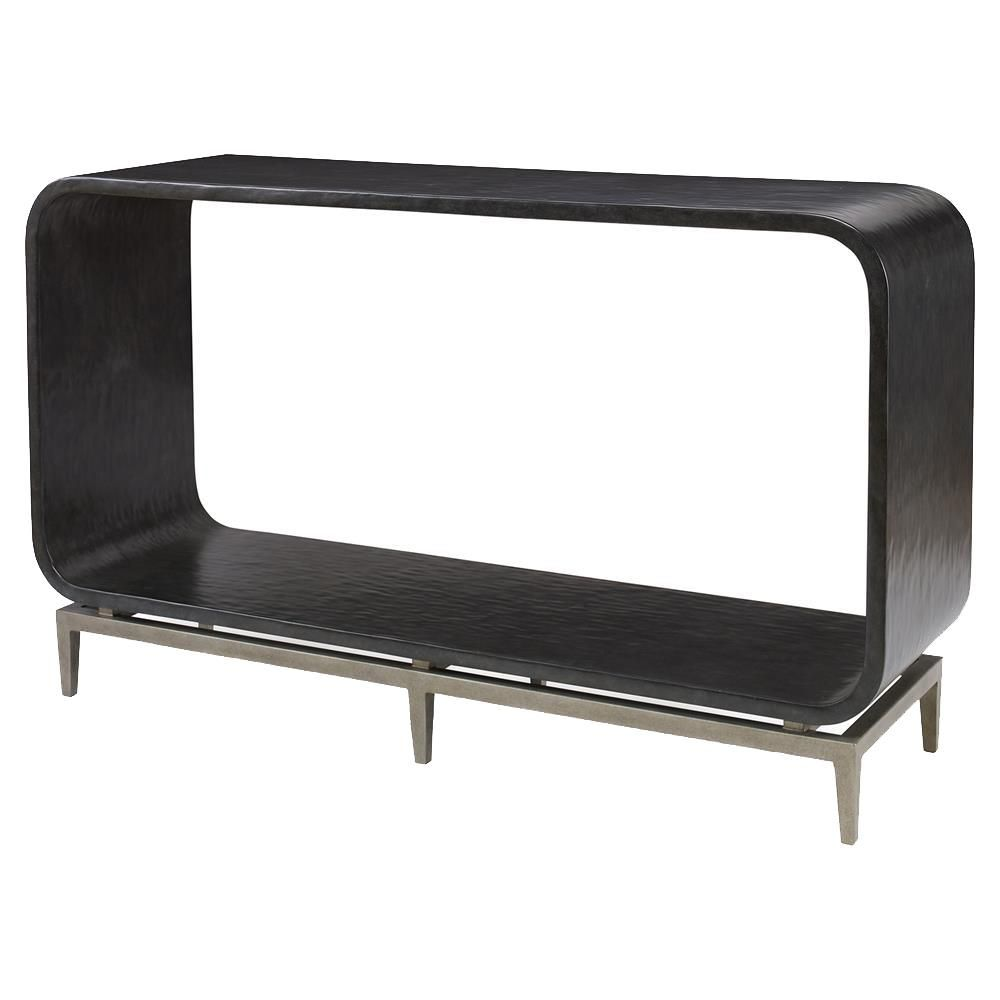 Merveilleux Kurt Modern Ebony Smooth Silver Rounded Console Table | Kathy Kuo Home