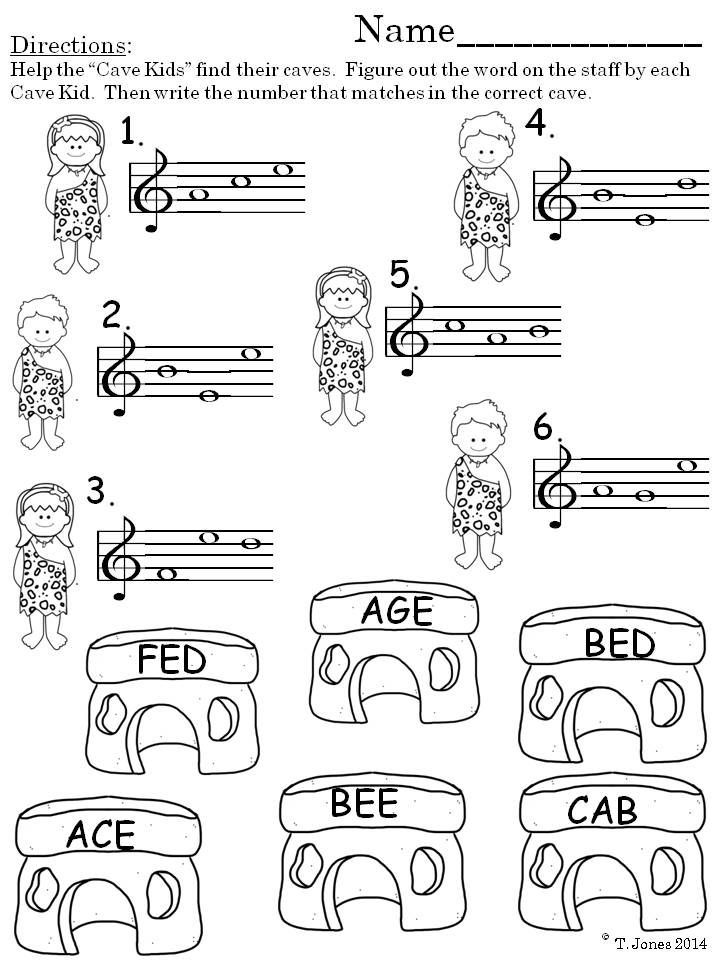 Music Worksheets Treble Clef Prehistoric Note Reading