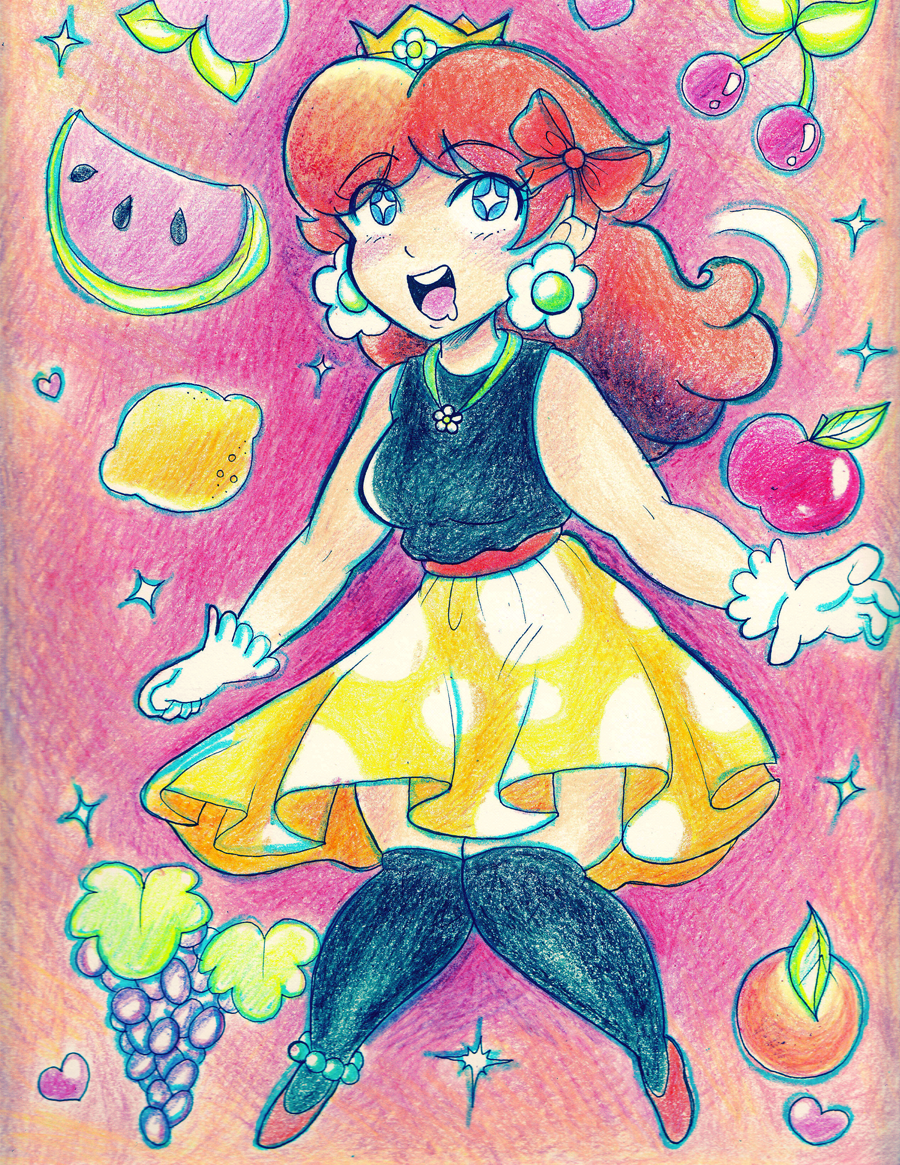 A cute 9x12 in. crayon drawing of Princess Daisy, from Super Mario bros.