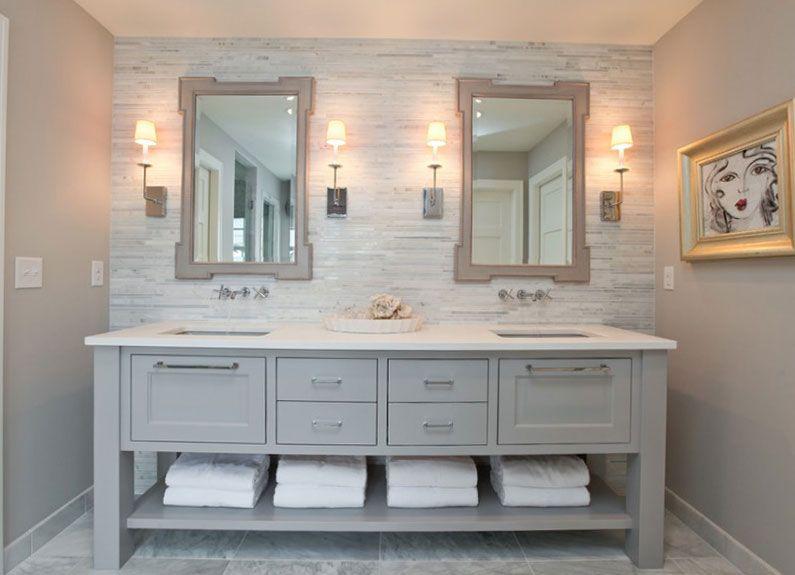 Pictures In Gallery Bathroom Great Bathroom Vanity White Quartz Countertop Marble Tiles Floor Gray Walls Bathroom Ideas Kitchen Tile Floor Also Marble Countertops Marble