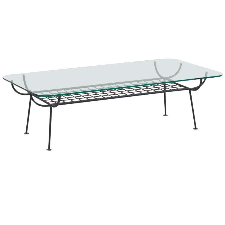 Rare Wrought Iron Coffee Table With Glass Top By George Nelson For Arbuck Iron Coffee Table Glass Top Coffee Table Table