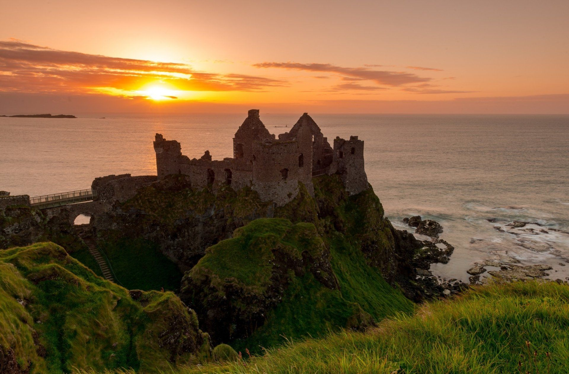 Man Made Dunluce Castle Ruin Sunset Dunluce Antrim Ireland