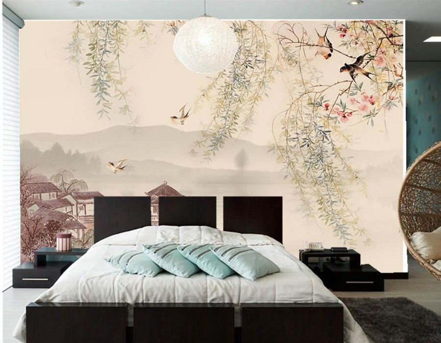 personnalis 3d murale saule avale la peinture traditionnelle chinoise papier peint salon tv. Black Bedroom Furniture Sets. Home Design Ideas