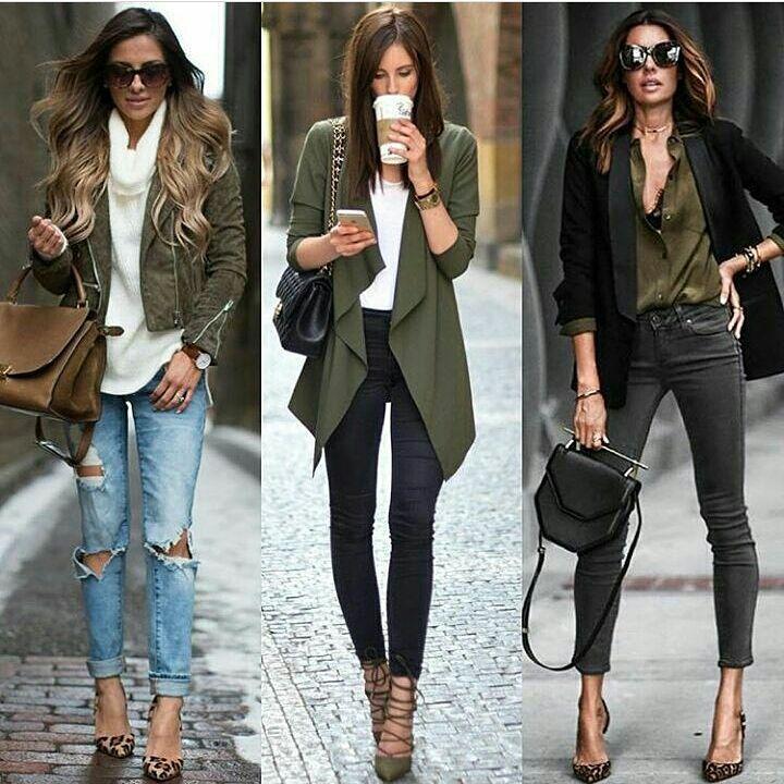 bc28ef353143 abbigliamento-casual-chic-donna-capelli-castani-jeans-tacchi-alti-blazer- verde-borsa-tracolla-catena