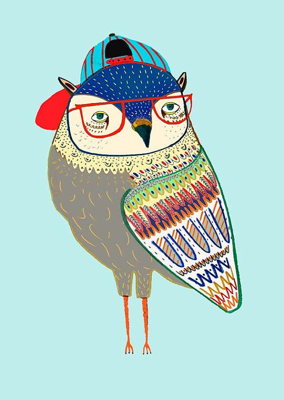 children's owl print children's decor kids art children's owl art - ''Coolest Owl''.