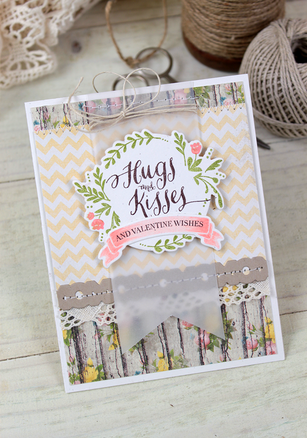 Dawn Woleslagle for Wplus9 featuring Valentine Wishes stamp set and die.