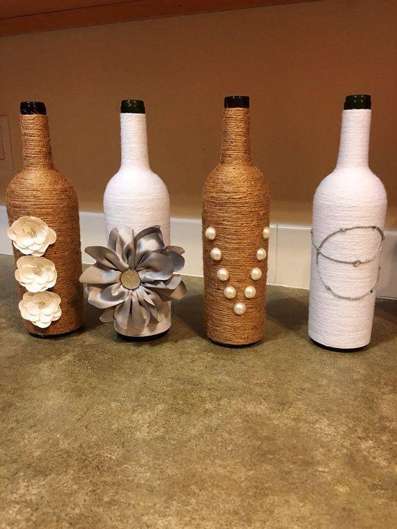 Wine Bottle Decor Rustic Vase Farmhouse Decor By Dezignedtodazzle Bottles Decoration Rustic Vase Wine Bottle Vases