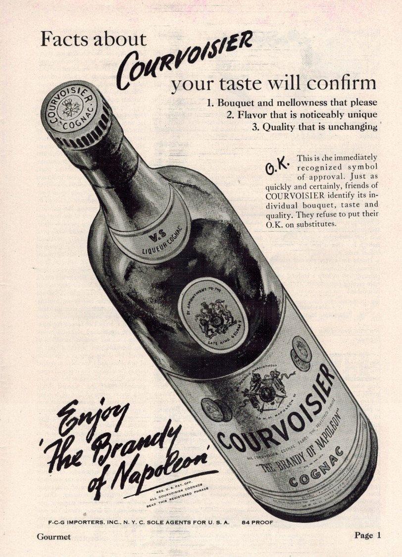Courvoisier Cognac Brandy 1947 Old Liquor Ad Vintage Etsy In 2021 French Cognac Liquor Cognac