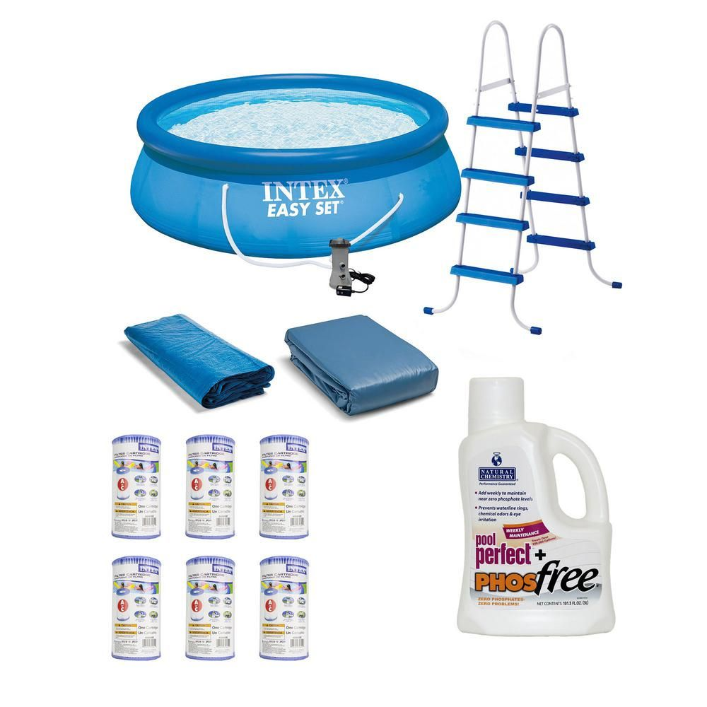 Intex 15 Ft Round X 4 Ft D Easy Set Inflatable Pool Ladder Pump Cartridges And Phosphate Remover 26167eh 6 X 29000e Nc 05131 The Home Depot Swimming Pool Accessories Inflatable Pool Pool Accessories