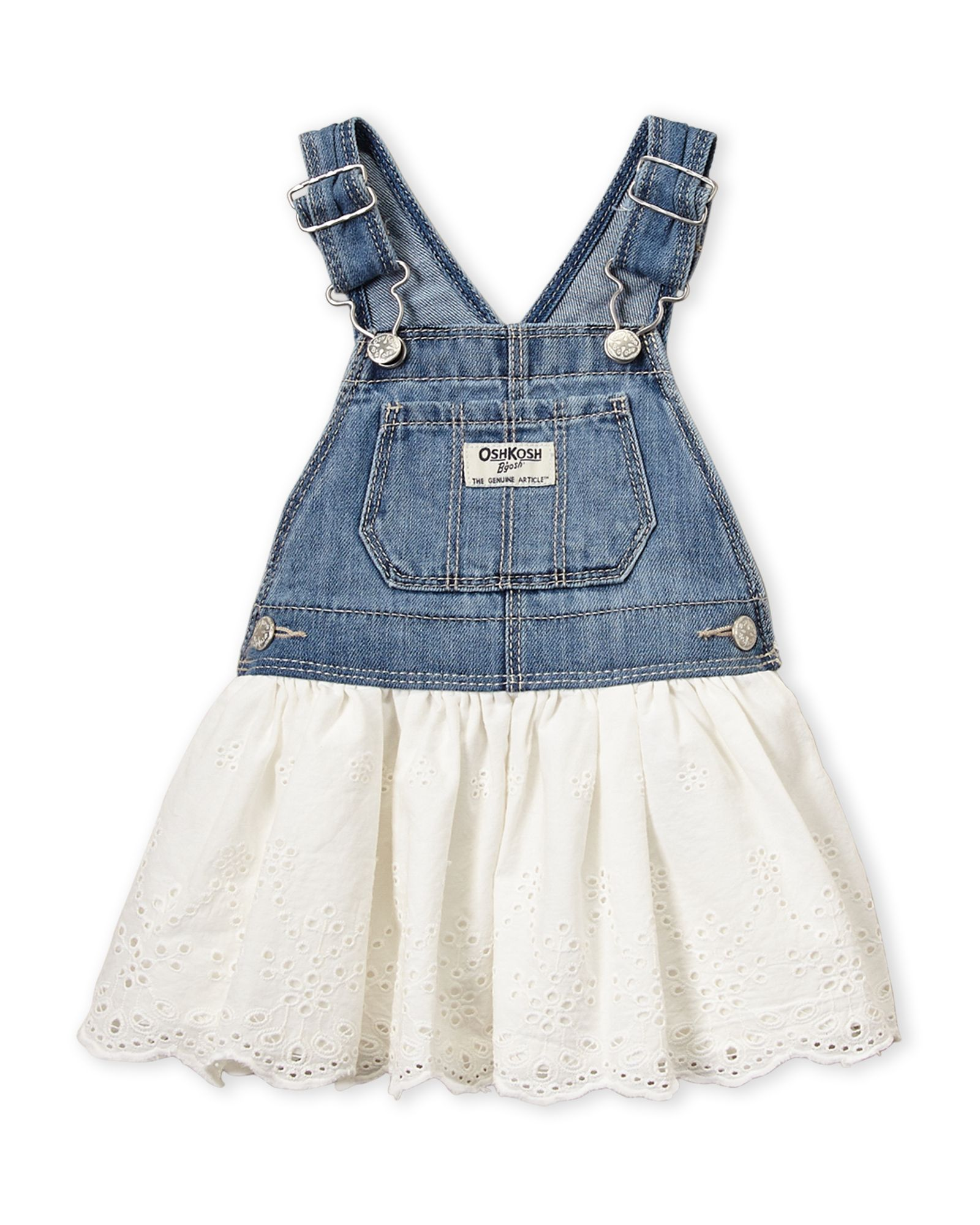 OshKosh B/'Gosh Toddler Girls/' Embroidered Denim Overall Jumper NWT