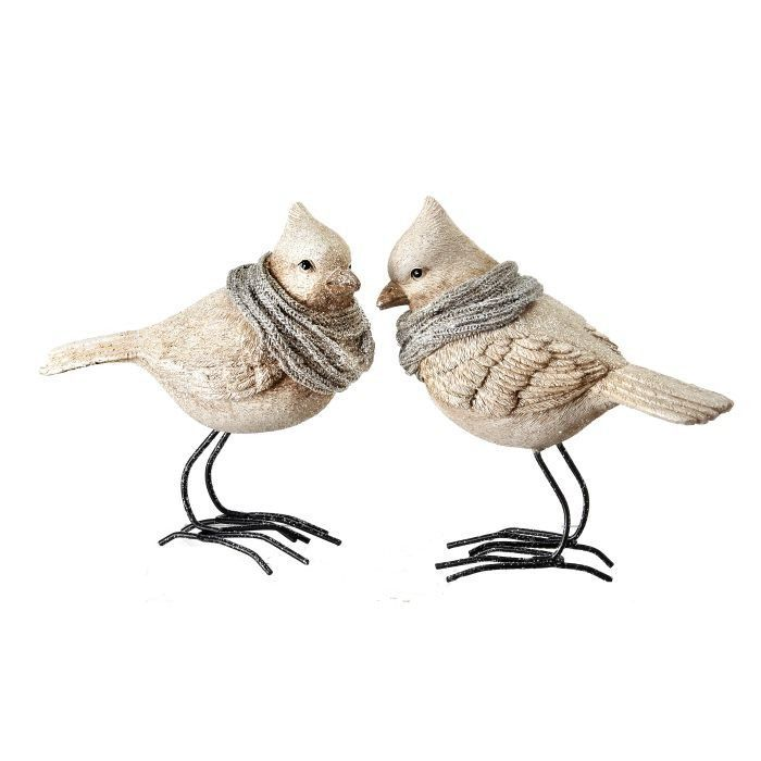 2 Piece Frosted Cardinal with Scarf Figurine Set