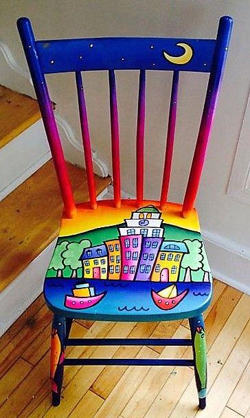 Decorations Peintures Sur Chaises Chaise Decorative Des Meubles Colores