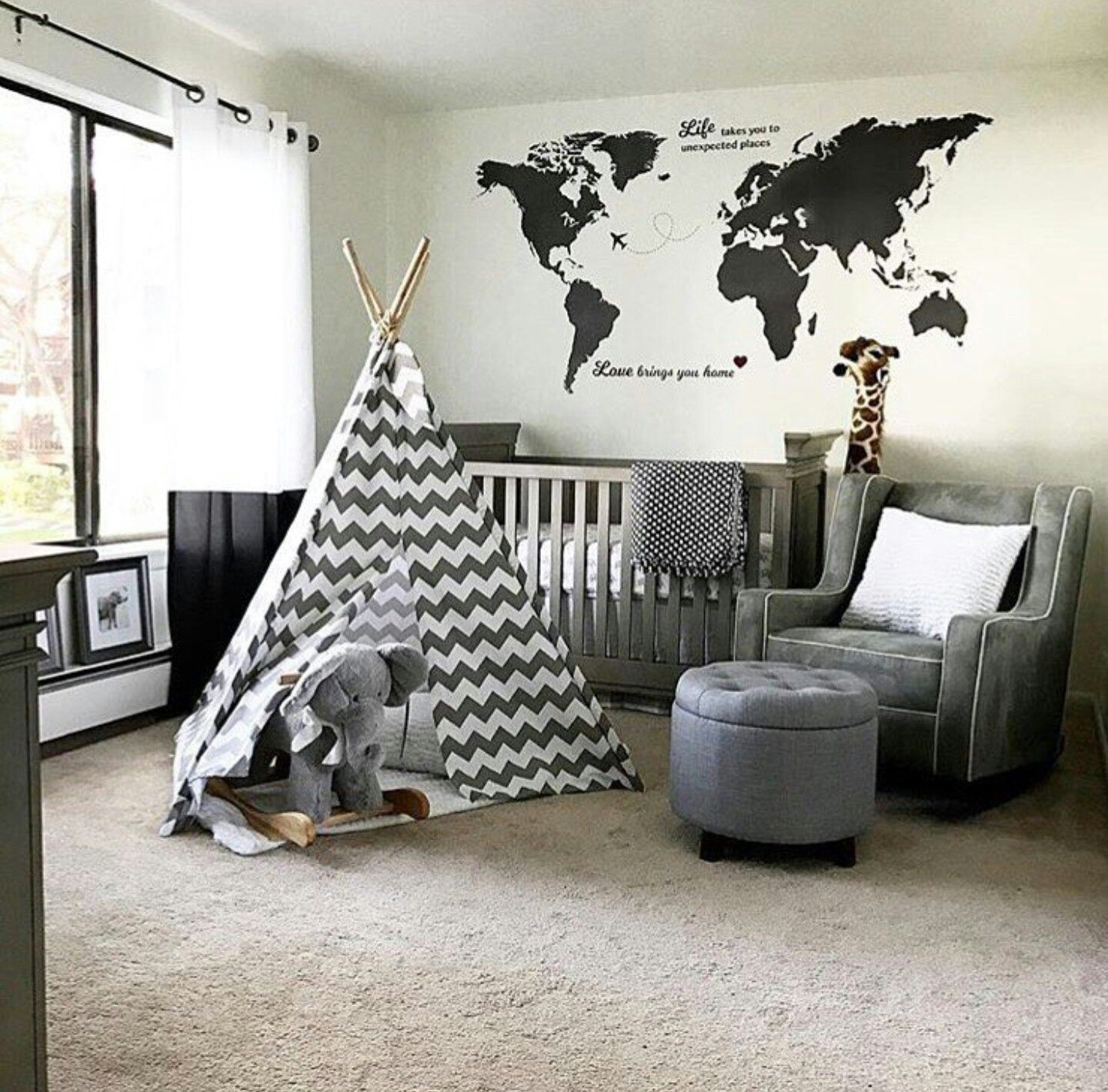 Pin by stephanie wengert on baby meyer pinterest nursery and babies this world map decal makes geography look cool we are crushing on this adventuretravel inspired nursery which is one of our top 2016 nursery trends gumiabroncs Images