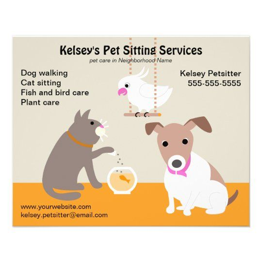 Pet Sitting Business Advertising Flyer | Zazzle.co.uk in ...