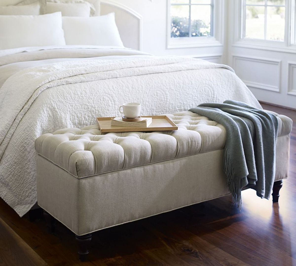 Lorraine Tufted Storage Bench From Pottery Barn   $1384