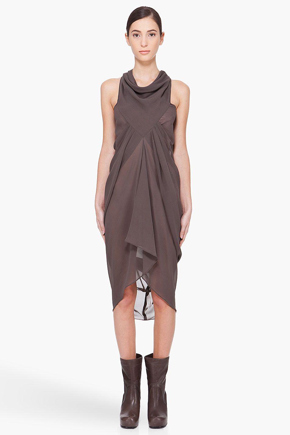 RICK OWENS Dark Grey Silk Drape Dress
