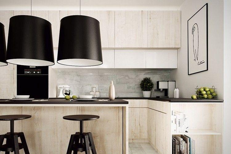 schwarze arbeitsplatte und küche aus hellem holz   home design ... - Schwarze Arbeitsplatte Küche