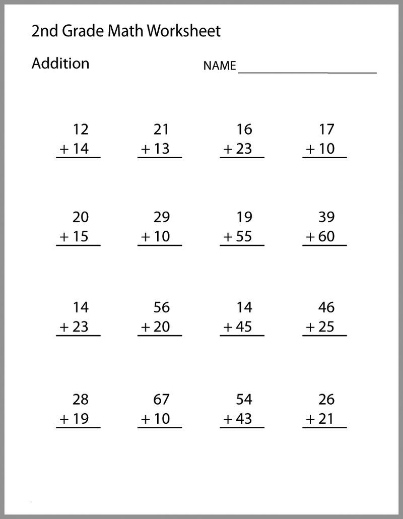 medium resolution of 2nd Grade Math Worksheets Addition   2nd grade math worksheets