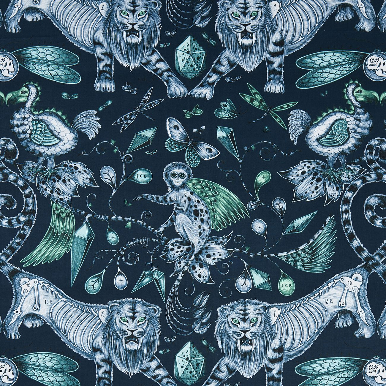 Extinct Navy Navy Fabric Fabric Collection Animalia